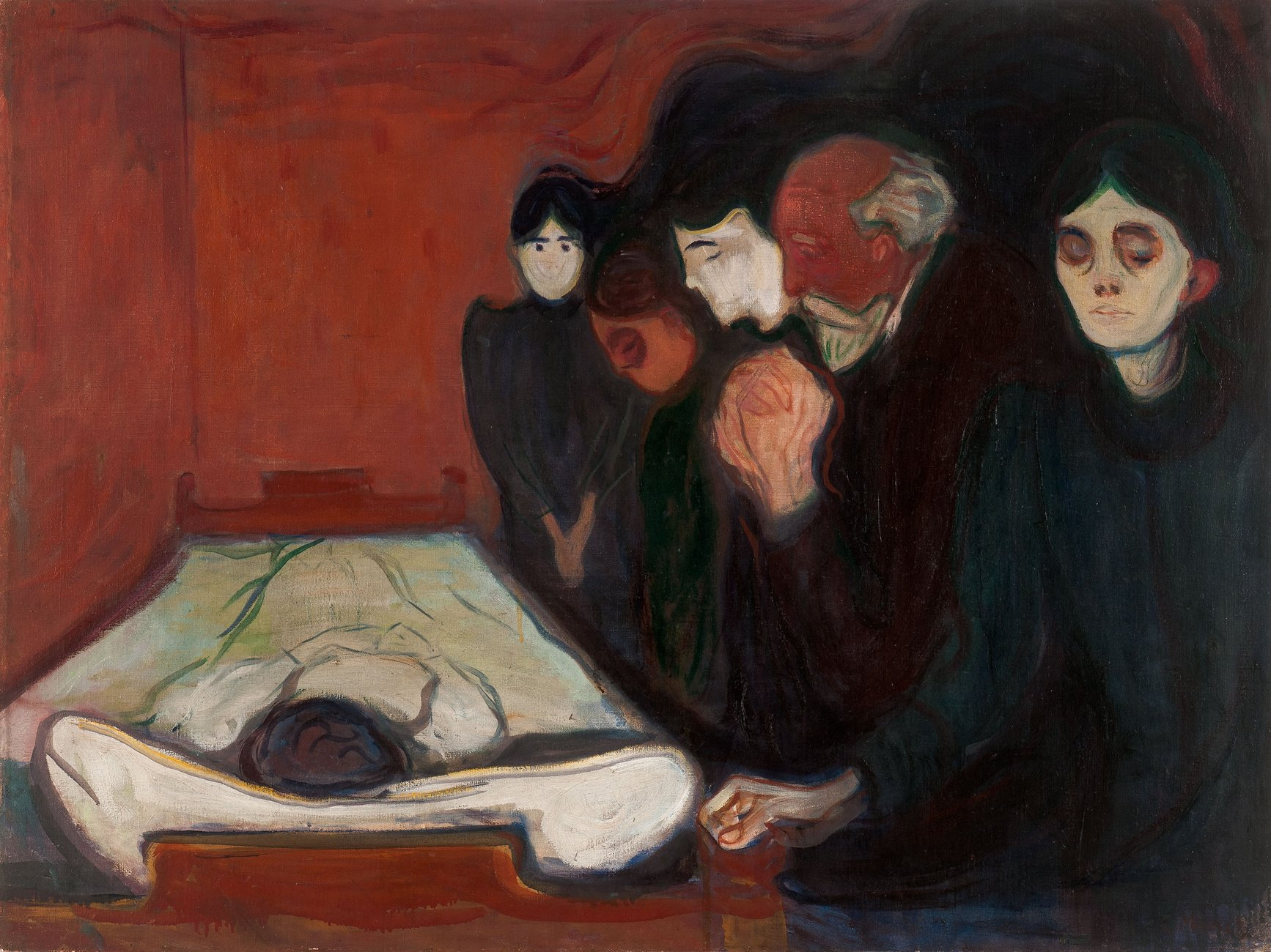 Artwork image, ​Edvard Munch, Ved dødssengen (At the Deathbed)
