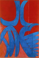 Rothschild, blue geometric shapes on red background