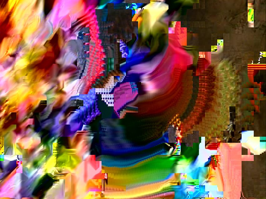 Brightly colored abstract composition made up of pixelated and smeared fields of color