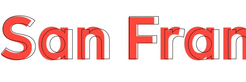 Red letters on a white background showing San Fran with grey outlines differentiating another font