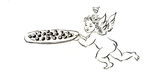 a drawing of an angel carrying a tray of brownies