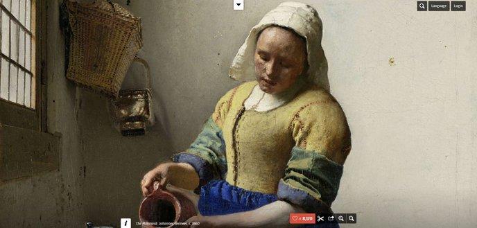 A Renaissance painting of a woman pouring milk from a jug