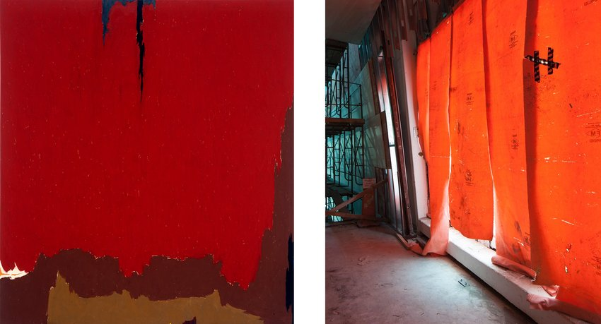 Red Clyfford Still painting next to a red wall