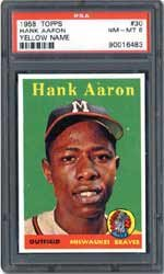 Hank Aaron baseball card from 1958, Mandel