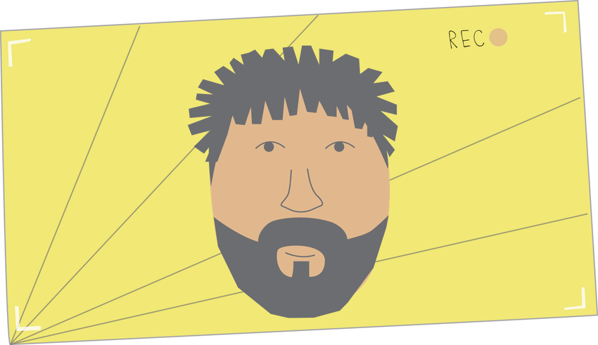A stylized illustration featuring a bearded face on a yellow background