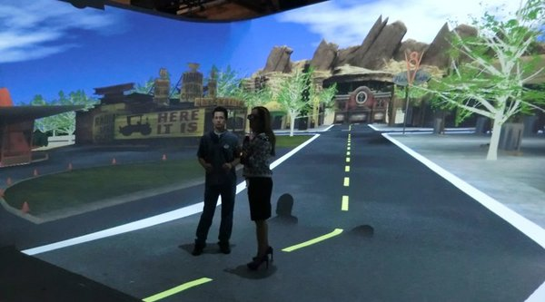 two people in virtual reality game