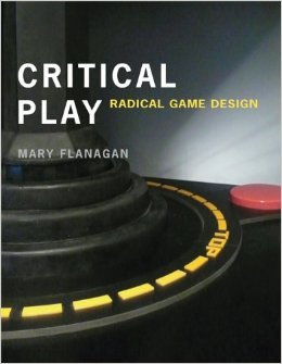 The cover of Mary Flanagan's book Critical Play with text over a joystick