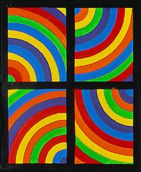 lewitt rainbow semicircles in black grid