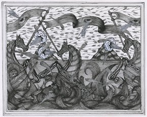 Andrew Schoultz, drawing of three horses in water