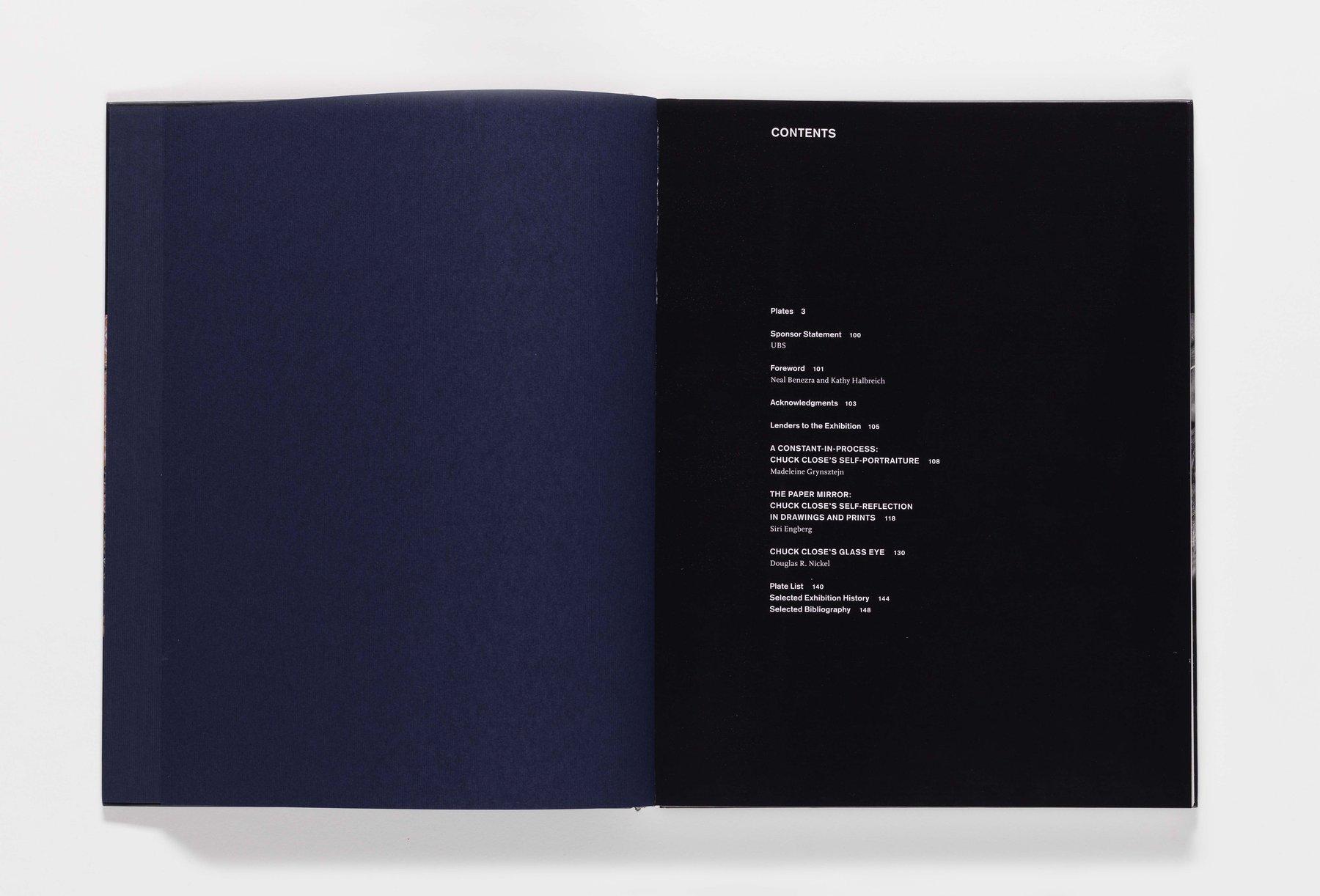 Chuck Close Self-Portraits publication table of contents