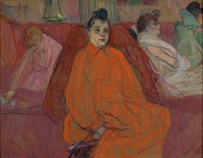 Toulouse-Lautrec, woman in red dress in the salon