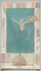 A faded color image of a diver, Rauschenberg