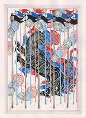 Andrew Schoultz, three red blue and black tigers with paint drips