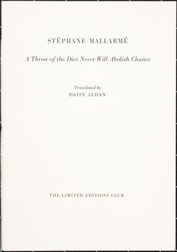 Un coup de dés jamais n'abolira le hasard (A Throw of the Dice Never Will Abolish Chance) by Stéphane Mallarmé