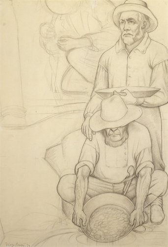 Untitled (Miners panning for gold), study for the mural Allegory of California, Pacific Stock Exchange Luncheon Club, San Francisco