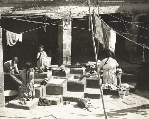 "Untitled [""Women washing in the patio of a tenement house""]"