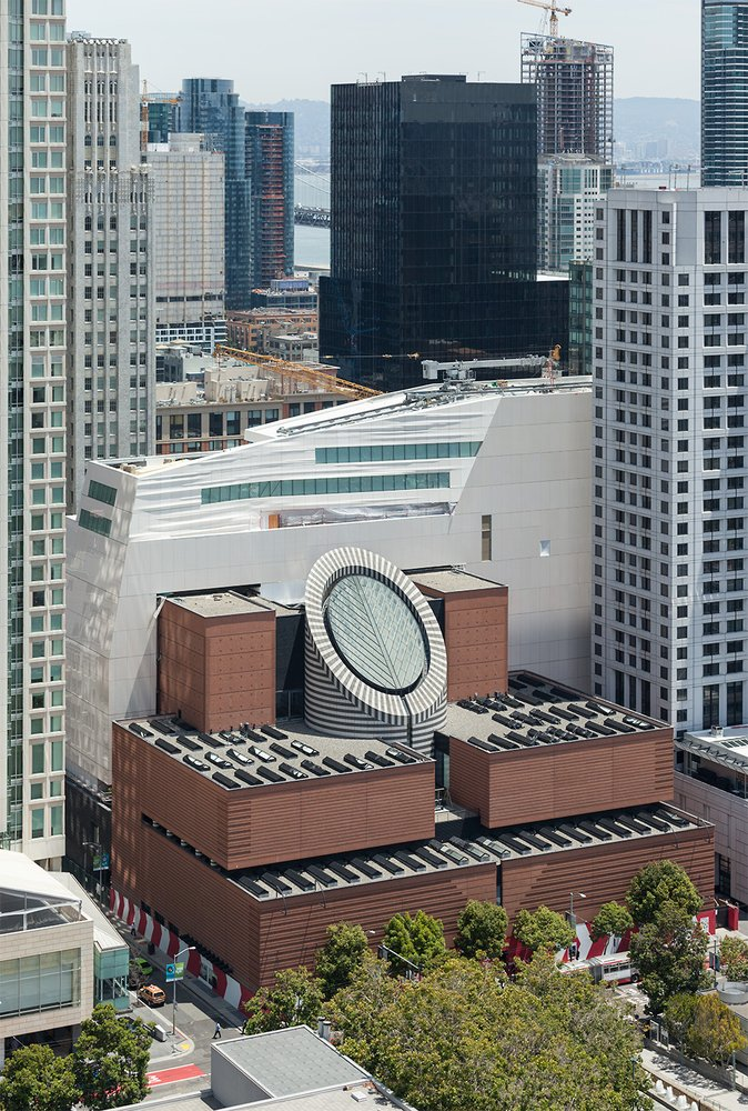 San Francisco city skyline view including the new SFMOMA.