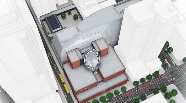 A rendering of the new SFMOMA building from above