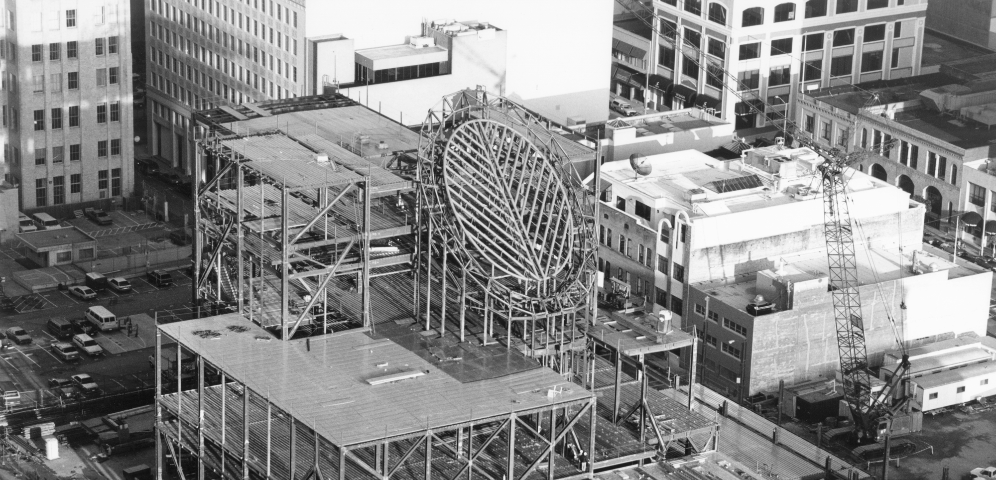 A view from above of the construction of SFMOMA's original building on Third Street.
