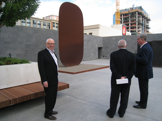 Ellsworth Kelly, with _Stele I_ (1973), on our new rooftop garden
