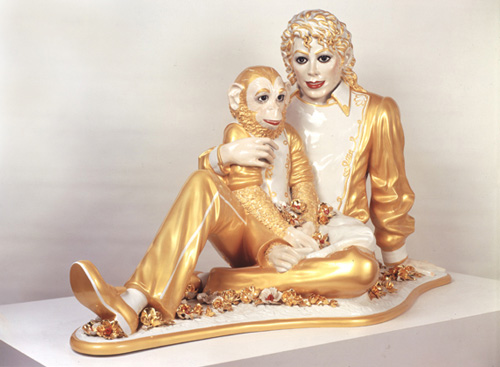Jeff Koons, _Michael Jackson and Bubbles_, 1988.