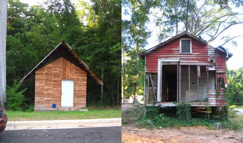 Not a before/after comparison, but two homes on the same block in Greensboro, Alabama
