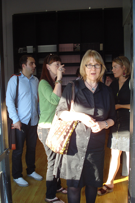 Dodie Bellamy in the doorway at the PRB. Behind her are Joseph Mosconi, that redheaded woman we met in Boulder but forget her name, she's lovely, and on the right, K. Lorraine Graham.