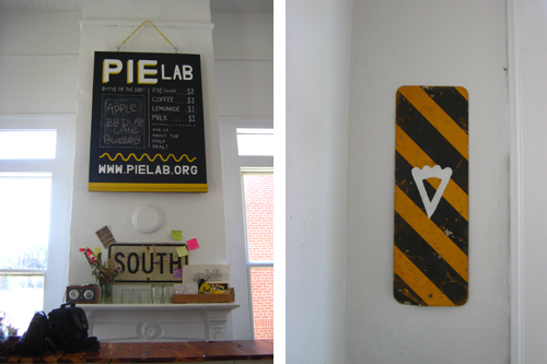 Signage in the Greensboro, Alabama Pie Lab. Design by Project M.