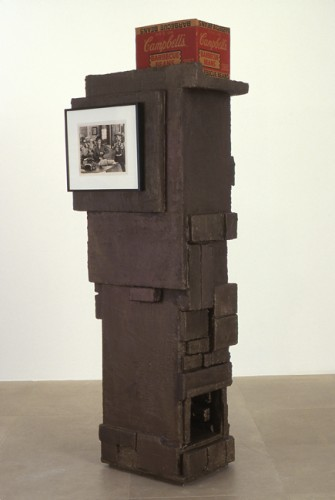 Rachel Harrison, Blazing Saddles, 2003; wood, styrofoam, parex, acrylic, framed photograph, cardboard box, 72 x 22 x 19 1/2""