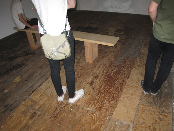 Gallery floor on which Mission hipsters stand? Or porn studio flooring on which these boys are soon to drop their skinny jeans and start wrestling?
