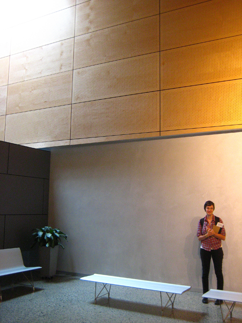 Upper lobby wood panels
