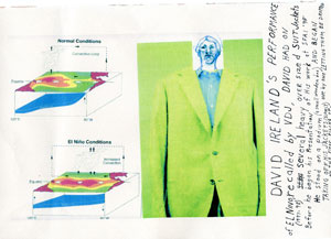 Veronica De Jesus, David Ireland's Performance of El Nino, 1998; recalled by VDJ 2009; construction paper, digital scan of a line drawing, my hand written text and 2 images found on the internet (one jacket, and one diagram of el nino 1997-98)