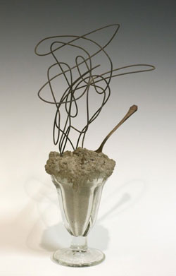 David Ireland: Untitled, nd; concrete, glass, wire, spoon 14² x 8 1/2² x 5²