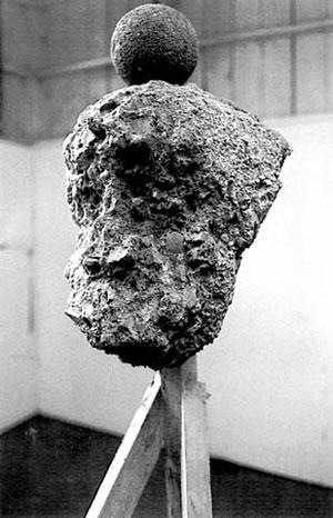 David Ireland, Cast Concrete Head With Dumbball, 1993