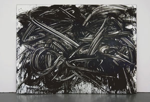 "Bob Linder, Everything went black!; enamel on mirror 72""x96"" 2008; Small A Projects, New York"