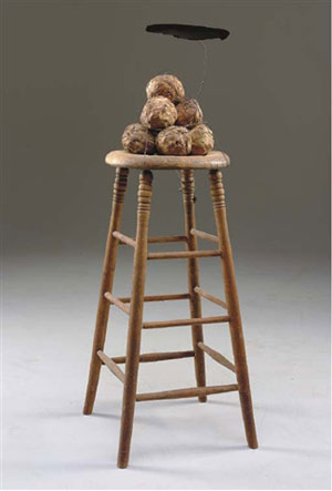 David Ireland, Elephant stool with shade wooden stool, wallpaper, wire and velvet, 1978 – 1991