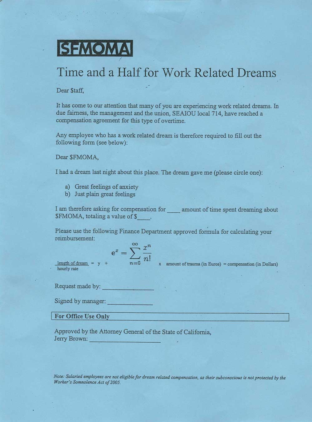 Time and a Half for Work-Related Dreams