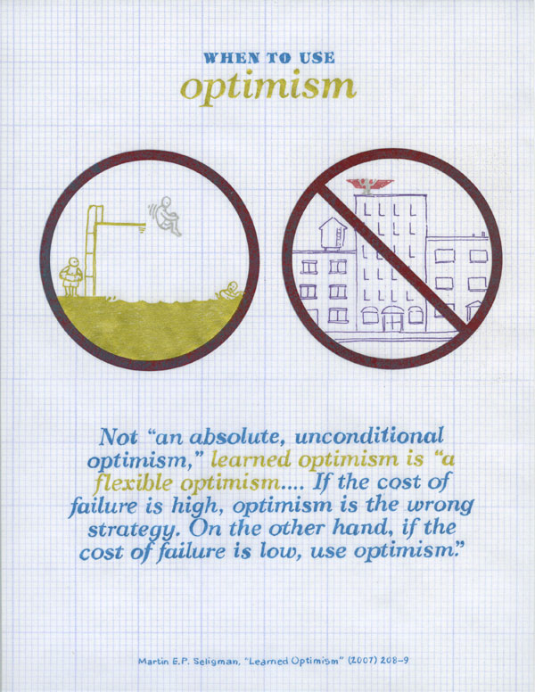 When to use optimism. Not an absolute, unconditional optimism, learned optimism is a flexible optimism... if the cost of failure is high, optimism is the wrong strategy. On the other hand, if the cost of failure is low, use optimism. Martin E. P. Seligman, Learned Optimism.