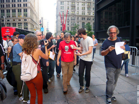 Slavoj Žižek on Broadway after Speaking at Occupy Wall Street