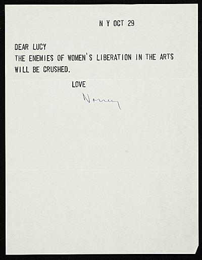 To Lucy Lippard Love Nancy Spero, 1971