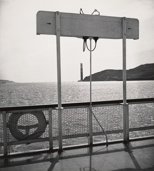 John Gutmann: Looking from Ferry Boat at Golden Gate with One Bridge Tower Completed
