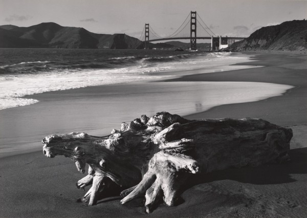 Pirkle Jones: Log and Golden Gate Bridge, San Francisco