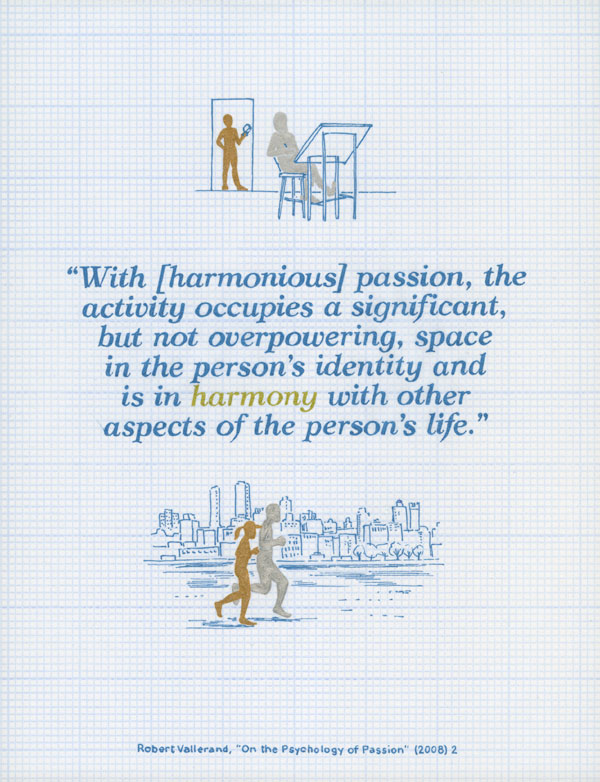 With harmonious passion, the activity occupies a significant, but not overpowering, space in the person's identity and is in harmony with other aspects of the person's life. Robert Vallerand, On the Psychology of Passion (2008) 2