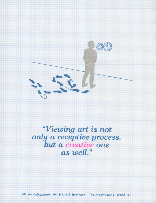 Viewing art is not only a receptive process, but a creative one as well. Mihaly Csikszentmihalyi and Rick E. Robinson, The Art of Seeing (1990) 153.