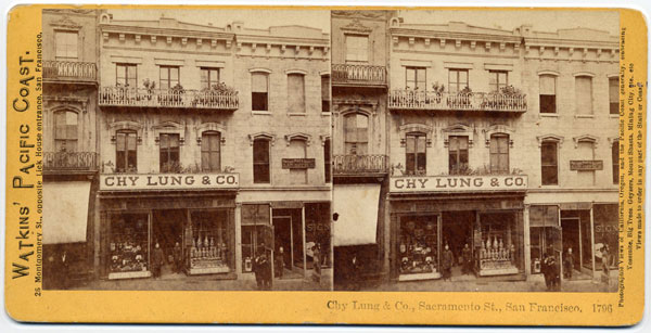 Carleton Watkins, Chy Lung & Co., Sacramento St., San Francisco, 1796; From the private collection of Jim Crain.