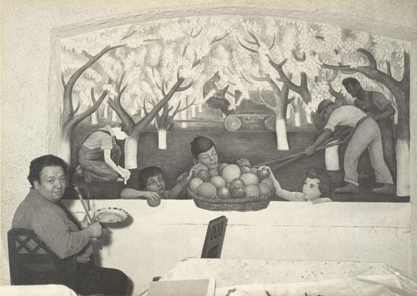 "Ansel Adams, Diego Rivera Painting the Fresco ""Still Life and Blossoming Almond Trees"" [formerly at Sigmund Stern House, Atherton, California], 1930-1931"