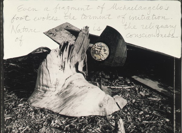 John Bloom, Painted Photographs: The Technology of Modern Wonder, 1985; photograph; gelatin silver print with acrylic, graphite, and phonograph record, 31 3/4 in. x 40 1/2 in. (80.65 cm x 102.87 cm); Collection SFMOMA, Gift of Anne MacDonald Walker; © John Bloom