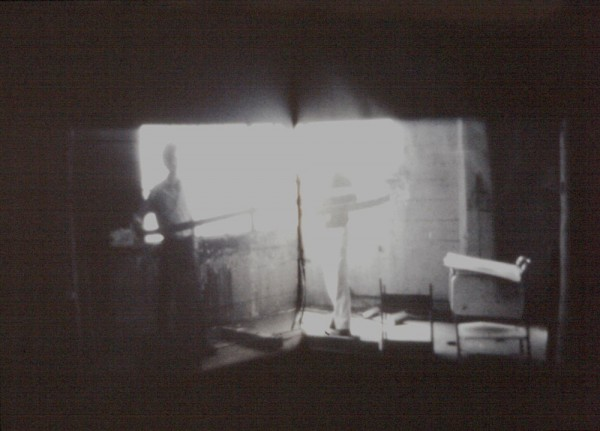 Al Wong, _Corner_, 1977, double 16mm film projection, black-and-white, 11 min.; participants: Stephen Laub and Al Wong; © Al Wong