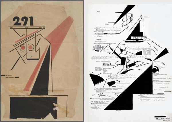 "291 throws back its forelock by Marius de Zayas, March 1915 (left); ""Mental Reactions,"" a collaboration between Agnes Meyer and Marius de Zayas that appeared in the magazine they co-edited, 291, in April 1915 (right)"
