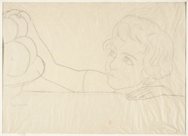 Diego Rivera, Untitled (child reaching for fruit [Rhoda Haas Goldman]), full-scale pattern for the mural Still Life with Blossoming Almond Trees, 1931